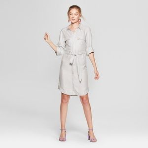 A NEW DAY Gray Striped Long Sleeve Shirtdress